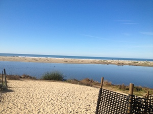 The lagoon and beach at the rv park