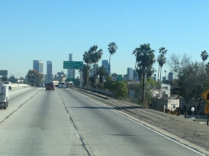 Palm trees, terrible upkeep of the pavement on the freeway, and not too terrible of traffic