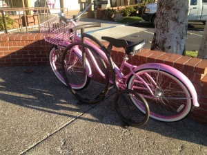 We saw lots of bikes, but how could you resist a nice pink one like this?
