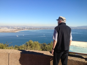 Dad looking at the view of San Diego