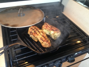 Grilling the chicken
