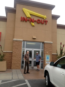 Craig and Dad heading into In-N-Out Burgers