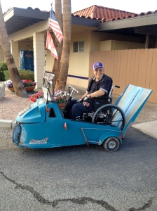 Golf cart that accommodates a wheel chair -- brilliant