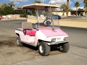 Sweet, pink golf cart