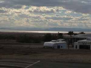 The view of the Salton Sea, from the top of the campground