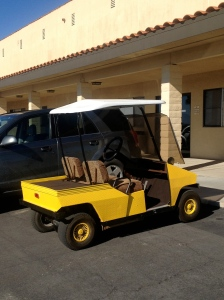 """Golf cart of the day, interesting in that it is entirely made out of that metal material that is """"stamped"""" all over?  (I'm sure there is a name for it.....)"""