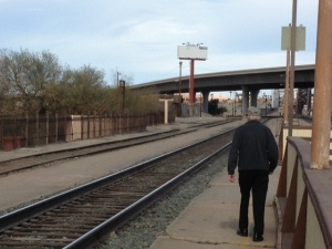 The train tracks at the Yuma Station