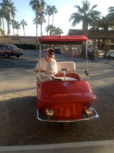 Golf cart of the day, complete with passenger