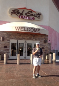 Craig, the big winner, flashing the cash, at the Red Earth Casino