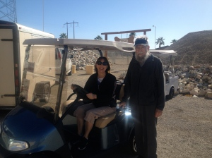 Dad and I checking out a golf cart at the flea market