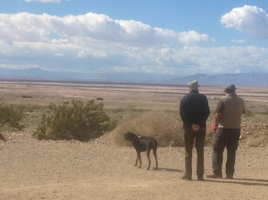 The boys surveying the desert