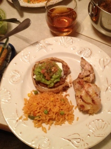 Dinner, that would be, marinated grilled chicken, rice, and a sope with beans, queso fresca, guacamole, and salsa