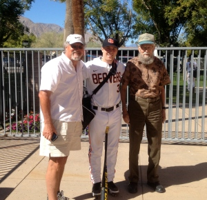The boys pose with a Beaver baseball player
