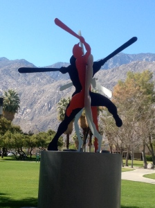 Baseball sculpture outside the Palm Springs Baseball Stadium