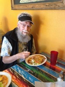 Dad, enjoying his enchilada lunch.