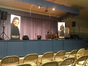 The stage is set for the Johnny Cash tribute.