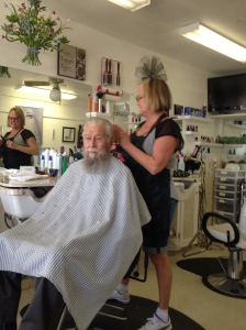 Dad at the FOY Salon with hairdresser Kathe.