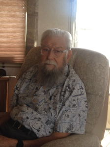 Dad's new hairstyle.  She thought he looked like Donald Sutherlin, so she gave him his same hairstyle.