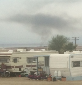 Fire in Bombay Beach.  (That's smoke in the distance.)