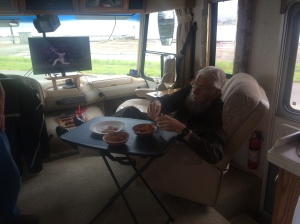 Doing what we do best, on a trip in the Hag.  Sports on TV, feet up, and cheese and crackers within easy reach.