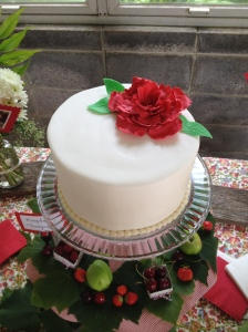 Raspberry Champagne cake covered with fondant.