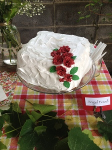 """Dad's favorite:  Angel Food Cake with Seven-Minute Frosting.  (It got a little """"wilty"""" in the heat, but no one seemed to mind)"""