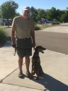 Craig and Stella at the RV Park.